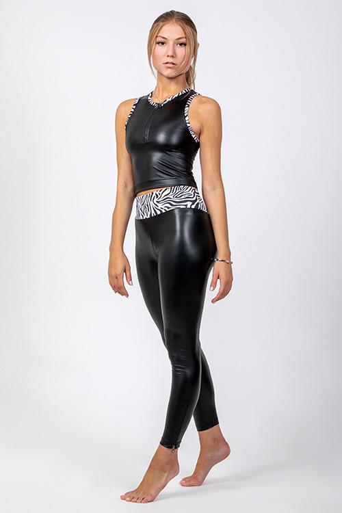 SWAP bőrhatású elasztikus cipzáras leggings, magasított derékkal-1