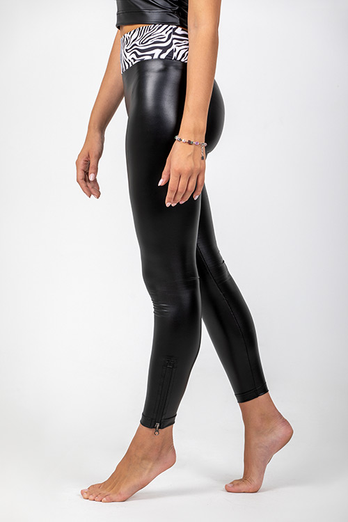 SWAP bőrhatású elasztikus cipzáras leggings, magasított derékkal-2