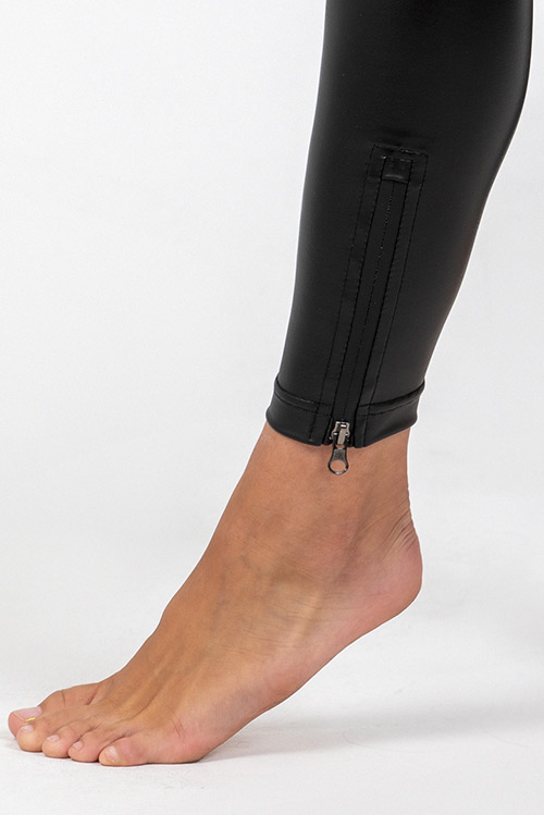 SWAP bőrhatású elasztikus cipzáras leggings, magasított derékkal-3